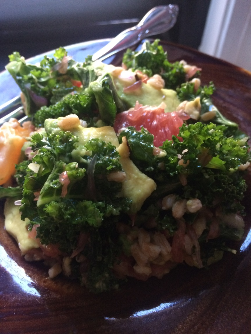 Celebrate Citrus with My Farro, Kale, Grapefruit and Avocado Salad!